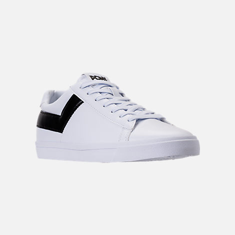 Three Quarter view of Men's Pony Topstar Low Casual Shoes in White/Black