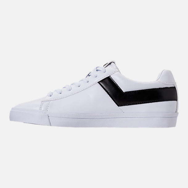 Left view of Men's Pony Topstar Low Casual Shoes in White/Black
