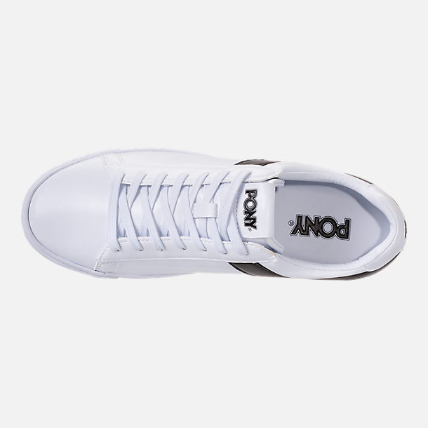 Top view of Men's Pony Topstar Low Casual Shoes in White/Black