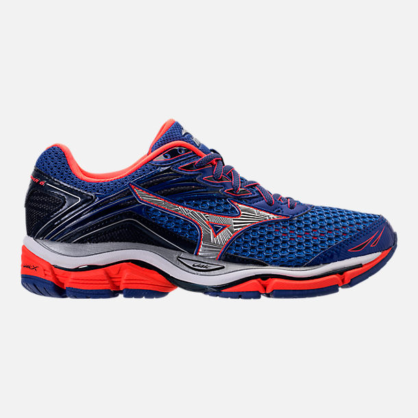 Right view of Women's Mizuno Wave Enigma 6 Running Shoes in Blue/Orange