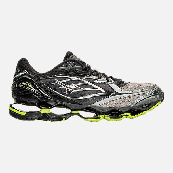 Right view of Men's Mizuno Wave Prophecy 6 Runnning Shoes in High Rise/Black/Lime Punch