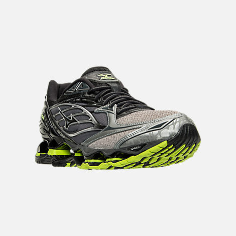 Three Quarter view of Men's Mizuno Wave Prophecy 6 Runnning Shoes in High Rise/Black/Lime Punch