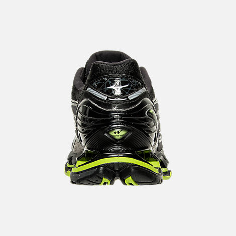 Back view of Men's Mizuno Wave Prophecy 6 Runnning Shoes in High Rise/Black/Lime Punch