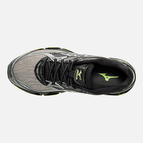 Top view of Men's Mizuno Wave Prophecy 6 Runnning Shoes in High Rise/Black/Lime Punch