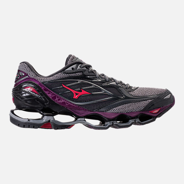 Right view of Women's Mizuno Wave Prophecy 6 Running Shoes in Griffin/Paradise Pink/Grape Juice