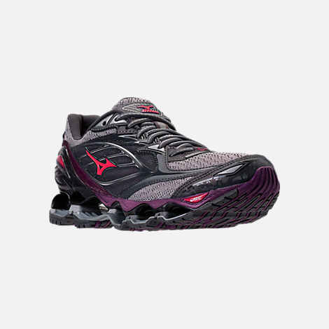 Three Quarter view of Women's Mizuno Wave Prophecy 6 Running Shoes in Griffin/Paradise Pink/Grape Juice