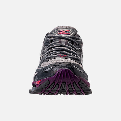 Front view of Women's Mizuno Wave Prophecy 6 Running Shoes in Griffin/Paradise Pink/Grape Juice