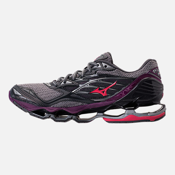 Left view of Women's Mizuno Wave Prophecy 6 Running Shoes in Griffin/Paradise Pink/Grape Juice