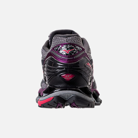 Back view of Women's Mizuno Wave Prophecy 6 Running Shoes in Griffin/Paradise Pink/Grape Juice