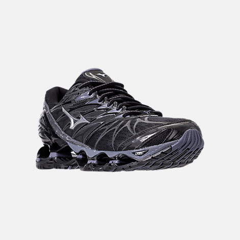 Three Quarter view of Men's Mizuno Wave Prophecy 7 Running Shoes in Black/Silver