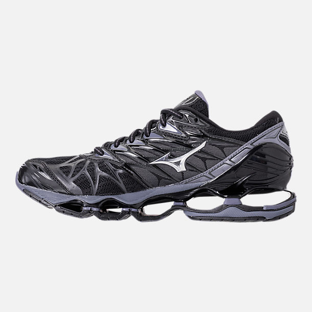 Left view of Men's Mizuno Wave Prophecy 7 Running Shoes in Black/Silver