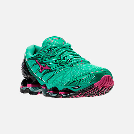 Three Quarter view of Women's Mizuno Wave Prophecy 7 Running Shoes in Billard/Pacific