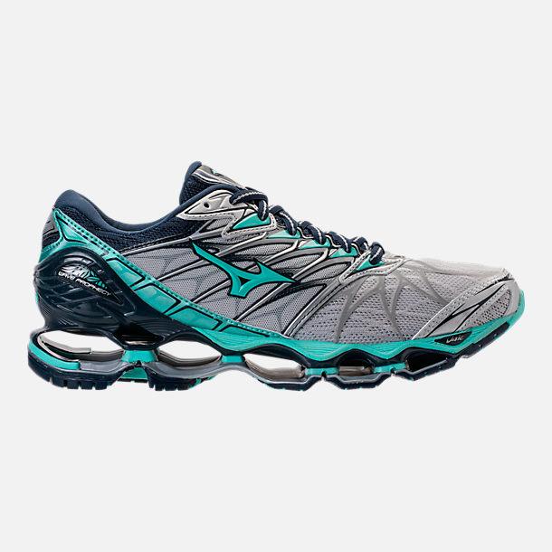 Right view of Women s Mizuno Wave Prophecy 7 Running Shoes in Silver Aqua  Splash 7f4bb0ca8