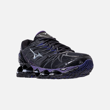 Three Quarter view of Women's Mizuno Wave Prophecy 7 Running Shoes in Black/Silver