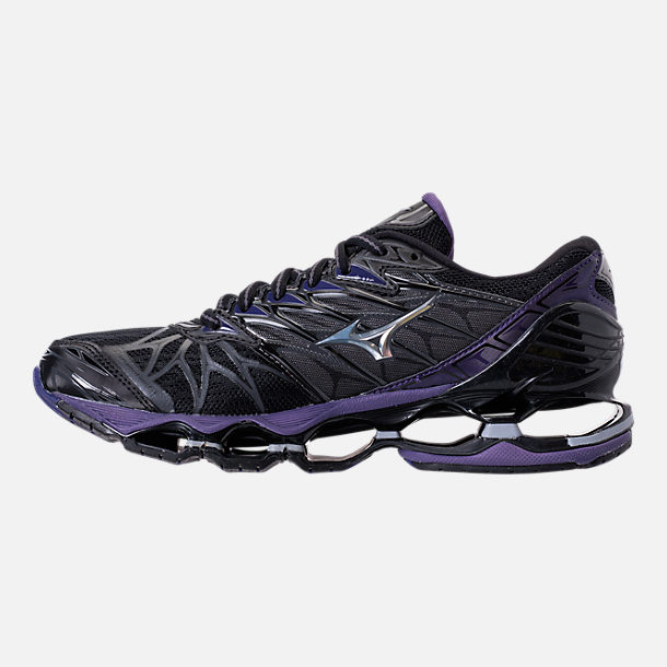 Left view of Women's Mizuno Wave Prophecy 7 Running Shoes in Black/Silver
