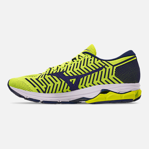 Left view of Men's Mizuno WaveKnit R2 Running Shoes in Flash/Maize