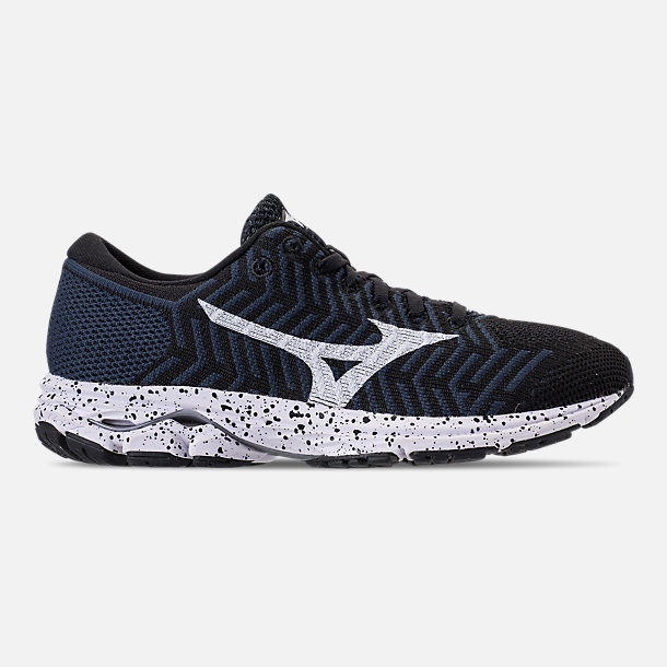 Right view of Women's Mizuno WaveKnit R2 Running Shoes in Black/Ombre/Blue