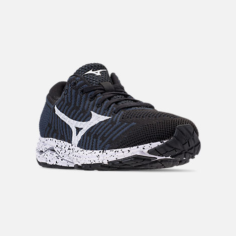 Three Quarter view of Women's Mizuno WaveKnit R2 Running Shoes in Black/Ombre/Blue