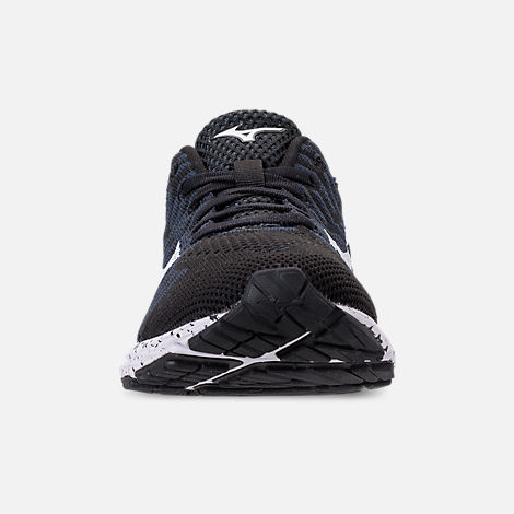 Front view of Women's Mizuno WaveKnit R2 Running Shoes in Black/Ombre/Blue