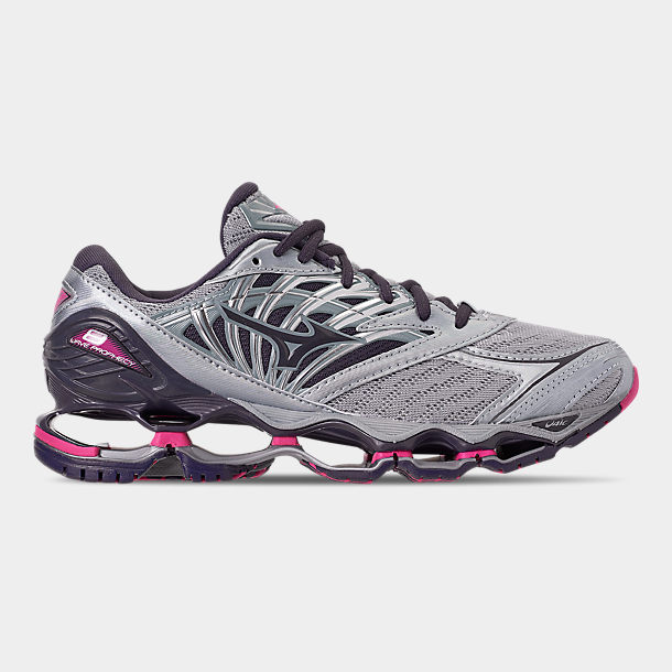 Mizuno Womens Wave Prophecy 7 Black Silver Purple Running Shoes Size 7.5