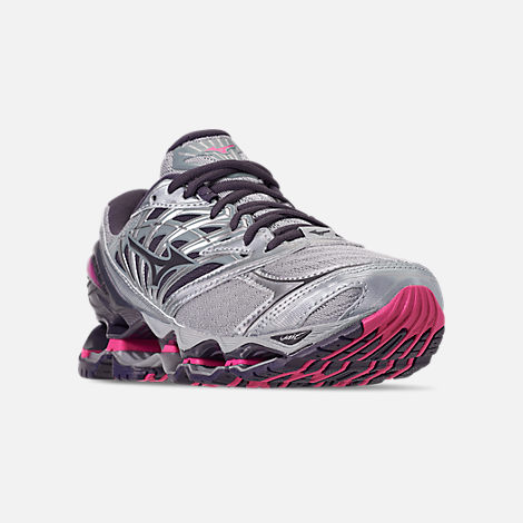 Three Quarter view of Women's Mizuno Wave Prophecy 8 Running Shoes in Quarry/Graphite