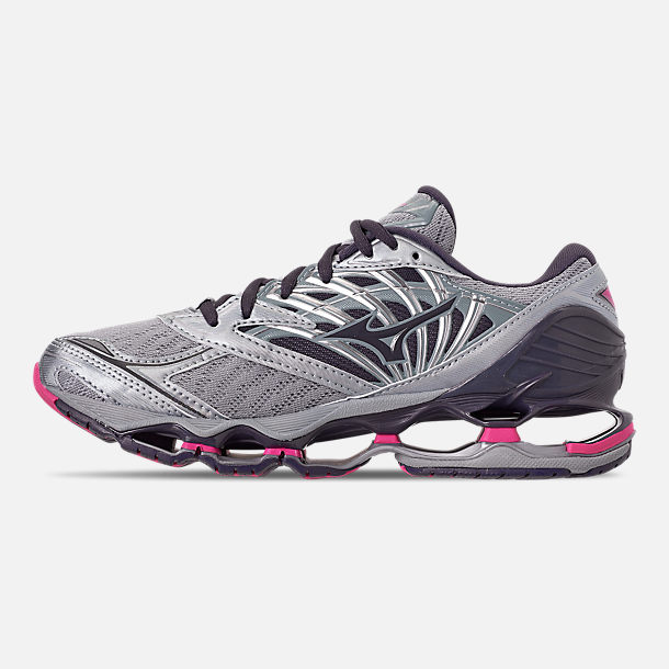 Left view of Women's Mizuno Wave Prophecy 8 Running Shoes in Quarry/Graphite