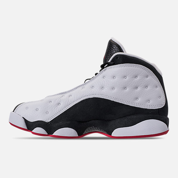 Left view of Men's Air Jordan 13 Retro Basketball Shoes in White/True Red/Black
