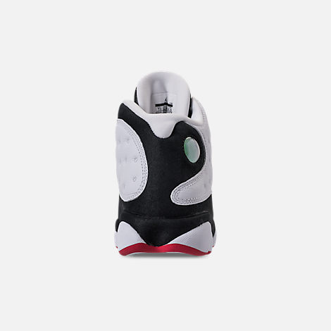 Back view of Men's Air Jordan 13 Retro Basketball Shoes in White/True Red/Black
