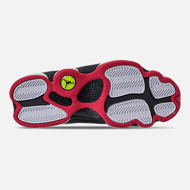 Bottom view of Men's Air Jordan 13 Retro Basketball Shoes in White/True Red/Black