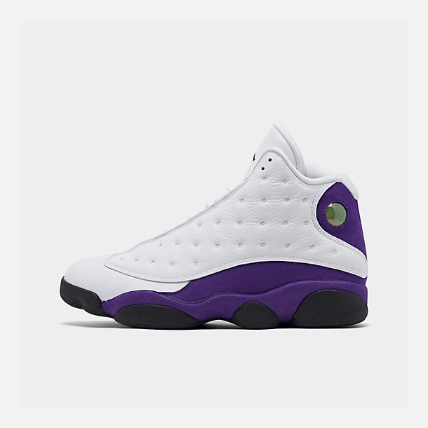 Right view of Men's Air Jordan Retro 13 Basketball Shoes in White/Black/Court Purple/University