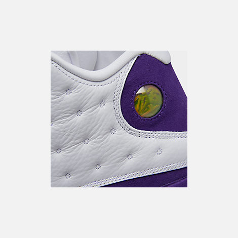 Front view of Men's Air Jordan Retro 13 Basketball Shoes in White/Black/Court Purple/University