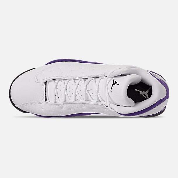 Top view of Men's Air Jordan Retro 13 Basketball Shoes in White/Black/Court Purple/University