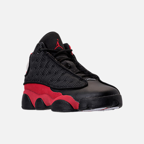 Three Quarter view of Kids' Grade School Air Jordan Retro 13 Basketball Shoes in Black/True Red/White