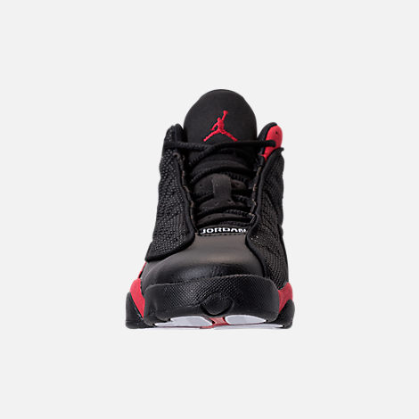 Front view of Kids' Grade School Air Jordan Retro 13 Basketball Shoes in Black/True Red/White