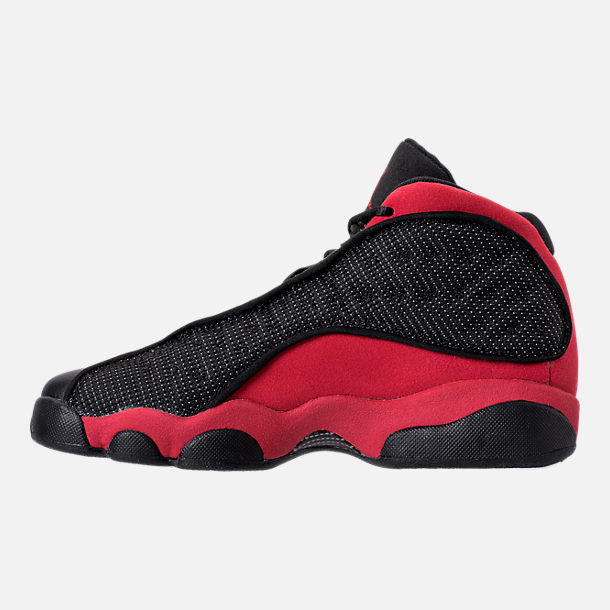 Left view of Kids' Grade School Air Jordan Retro 13 Basketball Shoes in Black/True Red/White