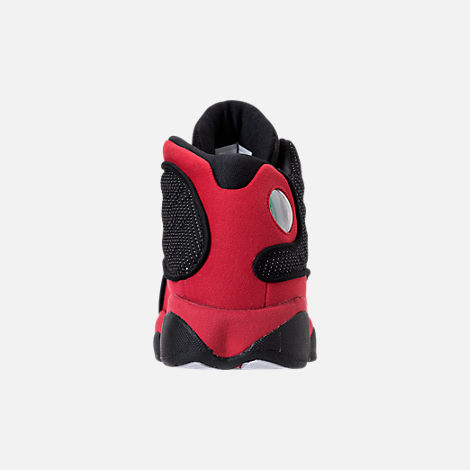 Back view of Kids' Grade School Air Jordan Retro 13 Basketball Shoes in Black/True Red/White