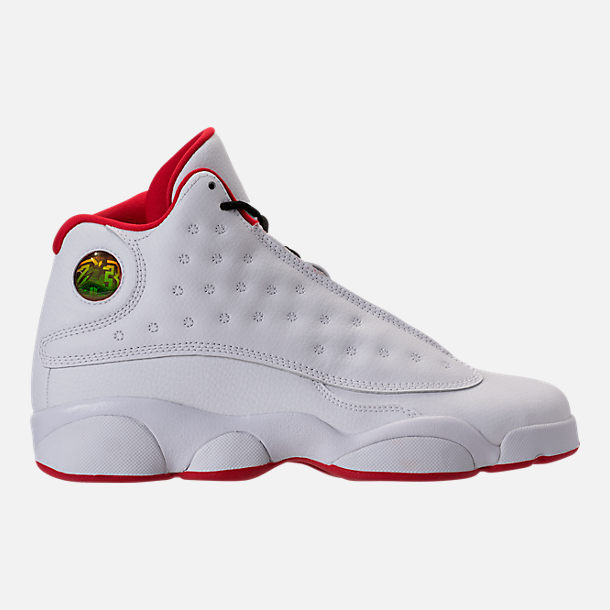 Right view of Kids' Grade School Air Jordan Retro 13 Basketball Shoes in White/Metallic/University Red/Black