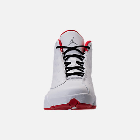 Front view of Kids' Grade School Air Jordan Retro 13 Basketball Shoes in White/Metallic/University Red/Black