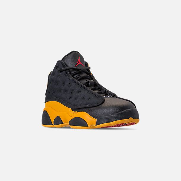 ac0b82539fd561 Three Quarter view of Little Kids  Air Jordan Retro 13 Basketball Shoes in  Black