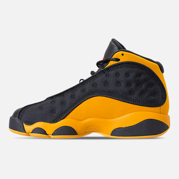 c3026a48ed4 Left view of Little Kids' Air Jordan Retro 13 Basketball Shoes in Black /University
