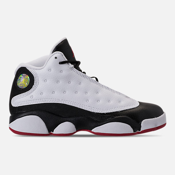 Right view of Little Kids' Air Jordan Retro 13 Basketball Shoes in White/True Red/Black