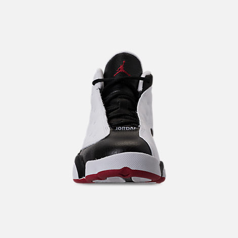 Front view of Little Kids' Air Jordan Retro 13 Basketball Shoes in White/True Red/Black