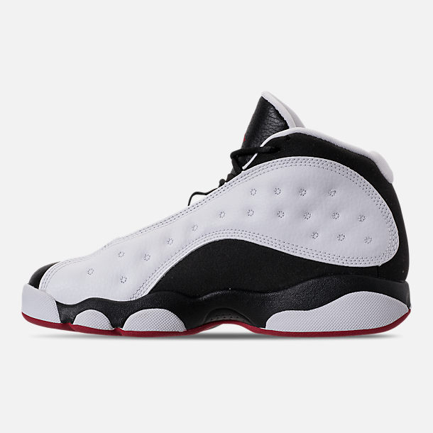 Left view of Little Kids' Air Jordan Retro 13 Basketball Shoes in White/True Red/Black