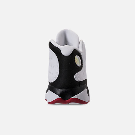 Back view of Little Kids' Air Jordan Retro 13 Basketball Shoes in White/True Red/Black