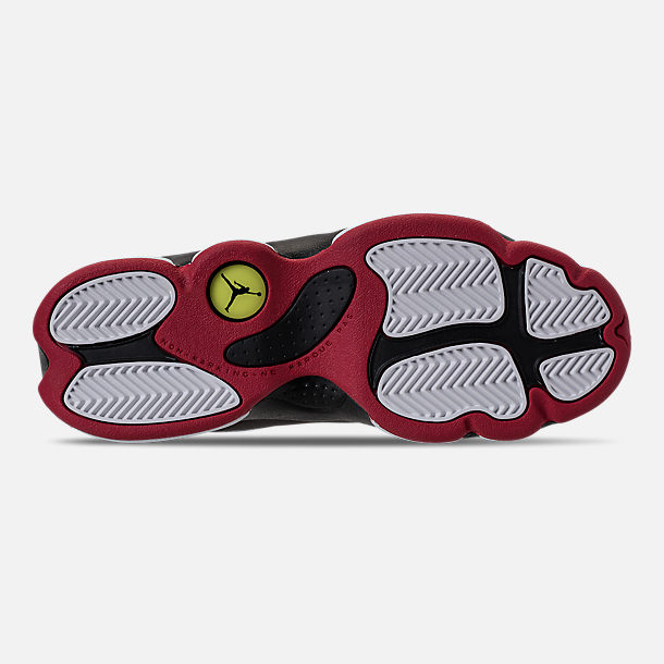Bottom view of Little Kids' Air Jordan Retro 13 Basketball Shoes in White/True Red/Black