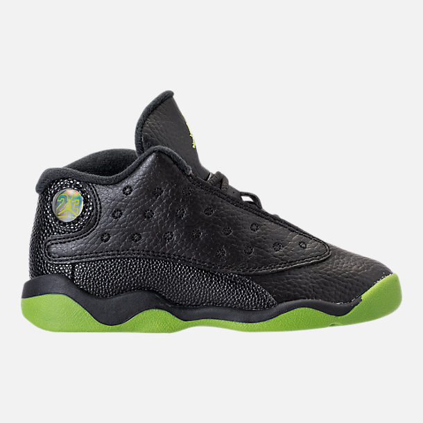 Right view of Kids' Toddler Air Jordan Retro 13 Basketball Shoes in Black/Altitude Green/White