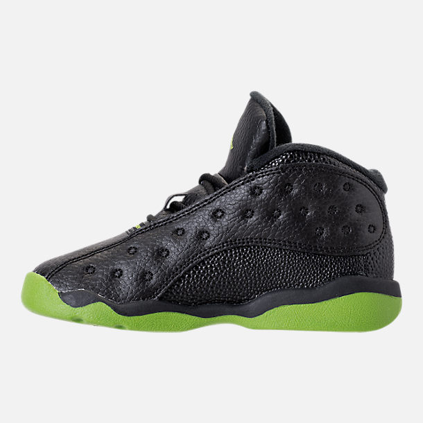 Left view of Kids' Toddler Air Jordan Retro 13 Basketball Shoes in Black/Altitude Green/White