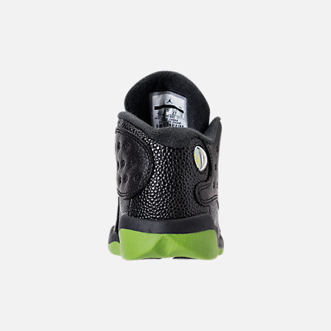 Back view of Kids' Toddler Air Jordan Retro 13 Basketball Shoes in Black/Altitude Green/White