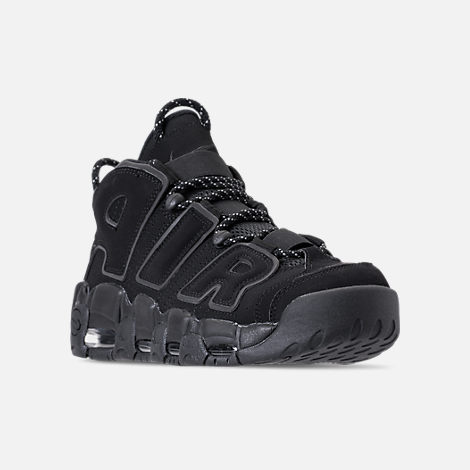 Three Quarter view of Men's Nike Air More Uptempo '96 Basketball Shoes in  Black/