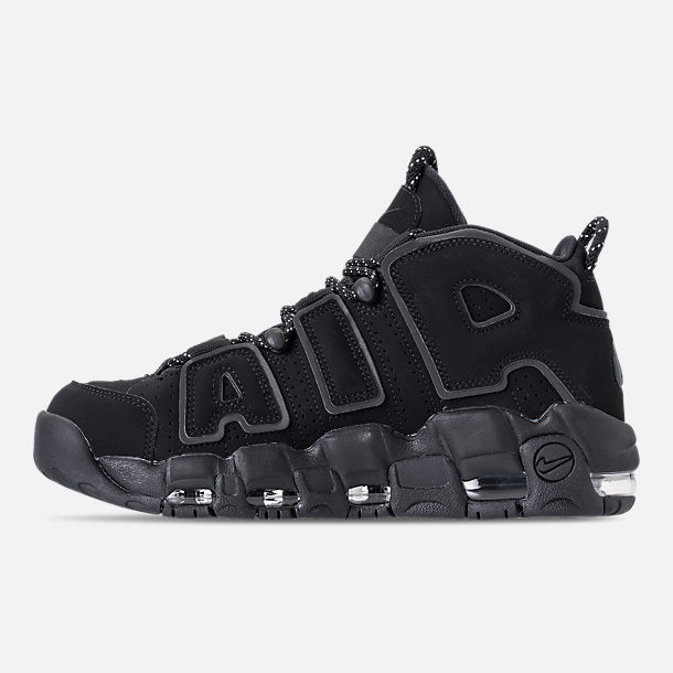Left view of Men's Nike Air More Uptempo '96 Basketball Shoes in Black/Reflective